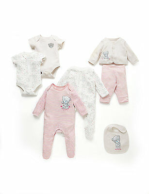 M&S Baby Cotton 7 piece set, sleepsuit bib bodysuit bottoms NEW Tatty Teddy