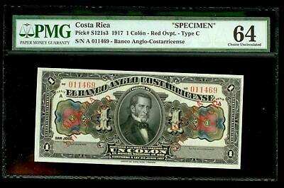 "1917 COSTA RICA ""SPECIMEN"" 1 COLON TYPE C  PMG CHOICE UNC 64 P# S121s3"