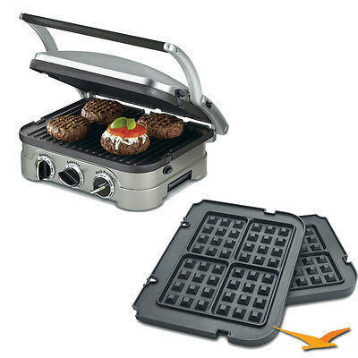Cuisinart GR-4N 5-in-1 Grill Griddler Panini Maker Bundle w/ Waffle Attachment