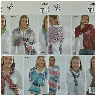 KNITTING PATTERN Ladies Easy Knit Assorted Wraps & Scarves Opium King Cole 4189