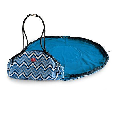 2 Red Hens Studio Toy Nanny Tote Bag and Play Mat Blue Chevron Stripes