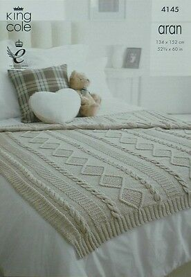 KNITTING PATTERN 2 Styles of Textured & Cable Throws/Blanket Aran King Cole 4145