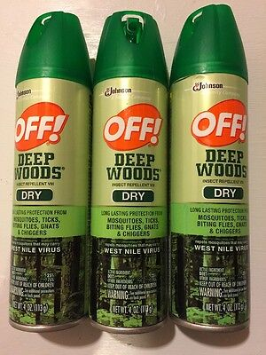 OFF! Deep Woods Dry Insect Repellent 4oz Spray Can (lot of 3)