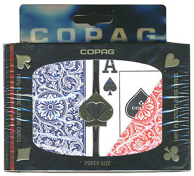 """Copag Playing Cards - """"1546"""" Red / Blue Plastic 2 Decks Jumbo Index - Free S/H *"""