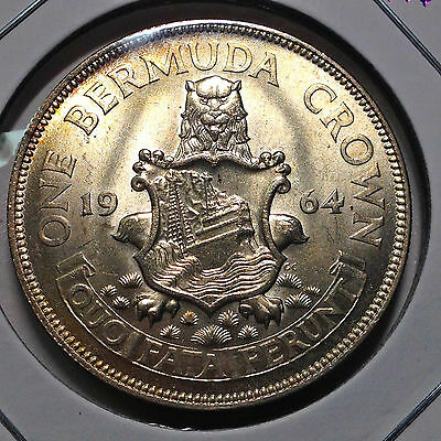 1964 Bermuda One Crown  Silver Uncirculated Beauty