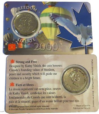 2000 Canada 25 Cents Quarter FREEDOM Proof-Like Sealed in RCM plastic holder