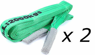 (2 Pack) 2T x 3 Metre Flat Lifting Slings Test Certificate 100% Polyester 1000Kg
