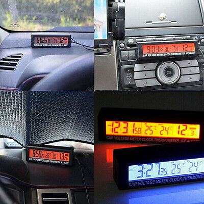In/Out Digital LCD Car Temperature Thermometer &Clock Voltage Meter Monitor New