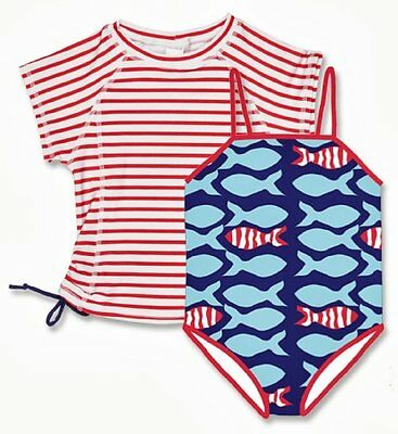 Snapper Rock, Set costume da bagno e maglietta anti UV per bambina, Multicolore