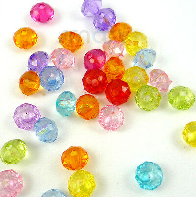 100pcs Mixed Faceted Plastic Beads Lot Craft/Kids Jewelry Making Embellish