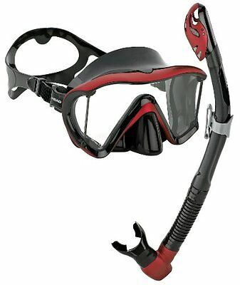 Head by Mares Scuba Snorkeling Dive Mask Dry Snorkel Set, Black Red