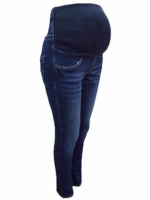 Womens Angeliebe Blue Denim Maternity Skinny Jeans Trousers Leggings Size 8-16