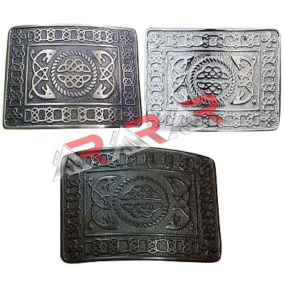 AAR Highland Kilt Belt Buckles Celtic Design High Quality Black & Antique Finish