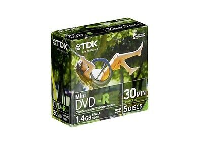 TDK Mini DVD-R for Camcorder | 1.4GB Single Sided | 30 min | 5 Pack