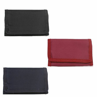 GHS Boys Girls Unisex Trifold Polyester Wallet & Security Chain Various Colours