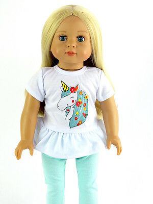"Unicorn Pant Set Fits 18"" American Girl Doll Clothes"