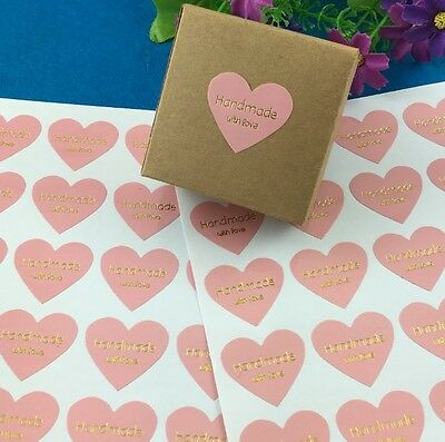 Heart HANDMADE WITH LOVE Gift Seal Craft Stickers Labels PINK with GOLD Text