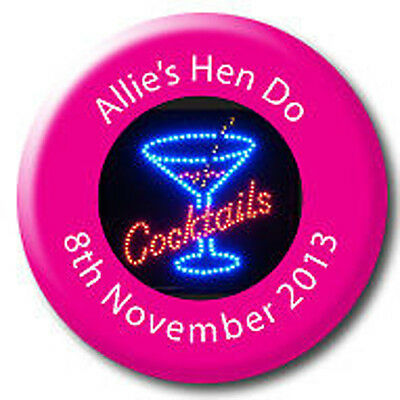 Personalised Birthday or Hen Night Pin Badges - 58mm - 5 FOR 4