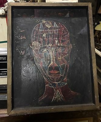 Rare Unsigned Canvas Modernism Abstract Man's Head  LOOK