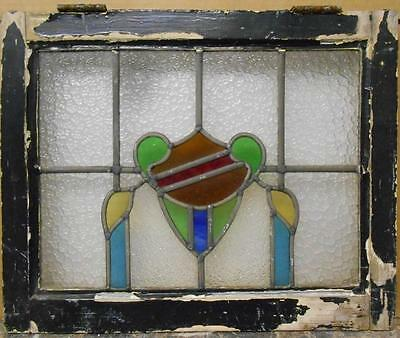 "OLD ENGLISH LEADED STAINED GLASS WINDOW Abstract Shield Design 21"" x 17"""
