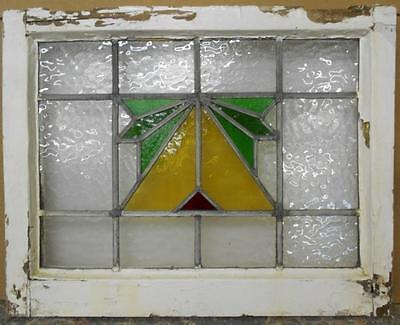 "OLD ENGLISH LEADED STAINED GLASS WINDOW Pretty Geometric 21.75"" x 17.25"""