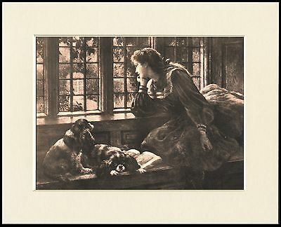 Cavalier King Charles Spaniel Lady & Dogs Wait At Window Dog Print Ready Mounted