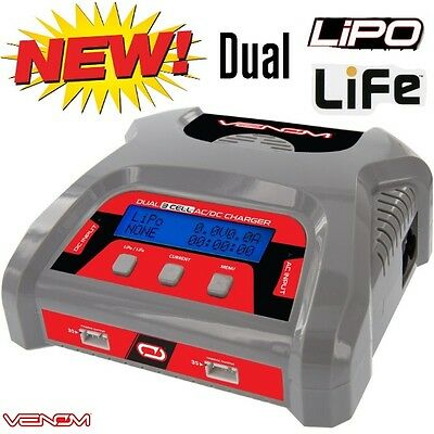 Venom 0689 50W AC/DC Dual 6 AMP 3S X2 LiPo & Life Balance Fast Battery Charger