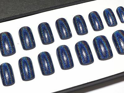 Short Holographic Fake Nails Navy Blue Rainbow Press On Full Cover False Nails
