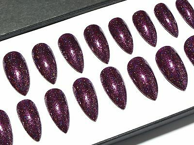 Purple Holo Chrome Stiletto Nails - Hand Painted Press On Full Cover False Nail