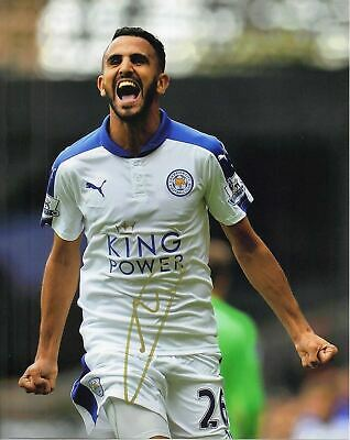 Riyad Mahrez Signed 10X8 Photo Leicester City F.C. Genuine COA AFTAL (1282)