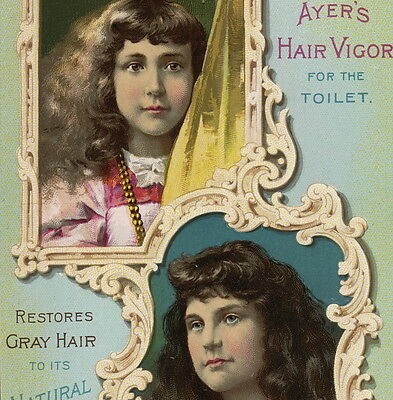 Dr Ayers Hair Vigor Scalp Cure Lowell MA 1800's Victorian Advertising Trade Card