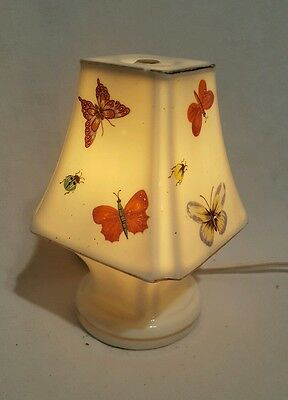 Small Antique Electric  Butterfly Ladybug on White Porcelain Night Light Lamp