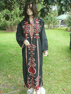Womens Black w Red Ivory Ornate Moroccan Embroidery Ethnic Caftan Maxi Dress L