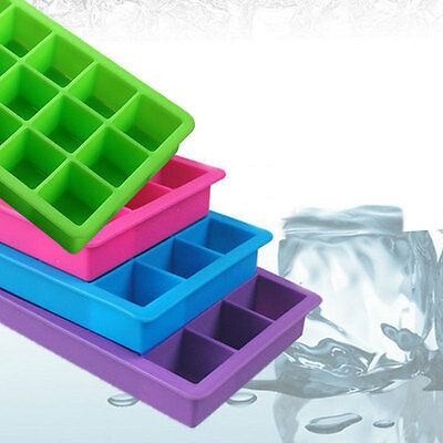 Food Grade 15 Cavity Silicone Ice Cube Tray Large Ice Cubes Square Mold 4 Colors