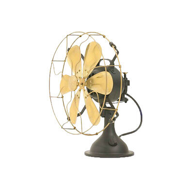 """12"""" Blades Electric Table Fan Oscillating Work Vintage Metal Brass Antique style"""