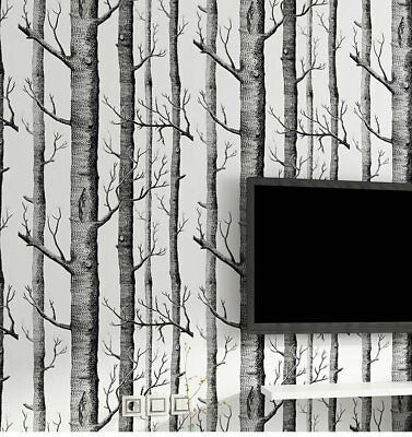 Birch tree woods modern wallpaper plain forest design black white