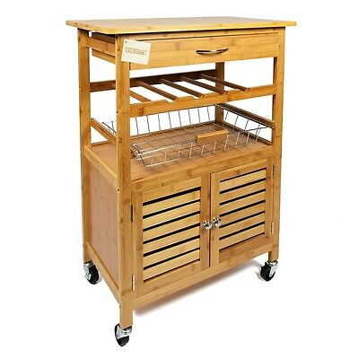 Woodluv Bamboo Kitchen Storage Serving Trolley Islands & Cart