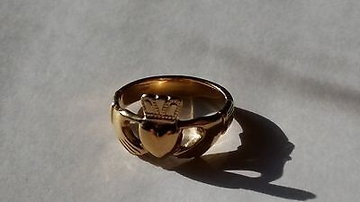 Gold Plated Silver Mens Claddagh Ring Size:p,r,s,t,u,w,x,y,z