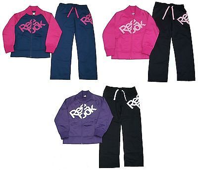 Reebok Girls Tricot Full Tracksuit Ages 5-16 Years Pink Purple Blue Black *bnwt*
