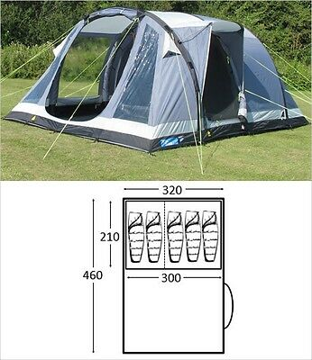DAMAGED BOX Kampa Oxwich 5 AIR berth person man camping inflatable tent - 2016