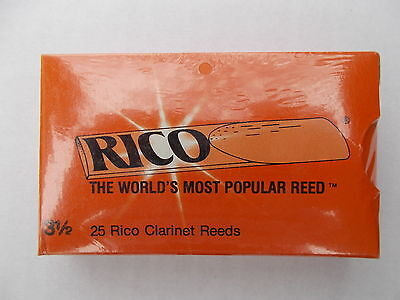 Rico Clarinet Reeds Strength 3.5  ( Sealed Pack Of 25 )  Free Shipping Uk