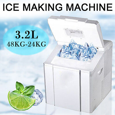 40~53 lb/day Deluxe Ice Maker Portable Compact Counter Top Cube Machine Silver