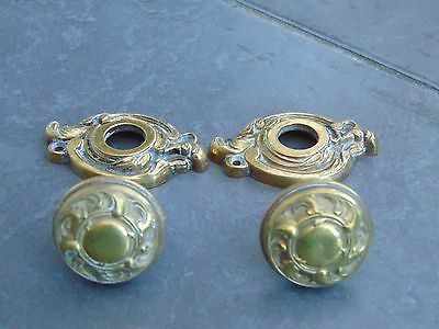 Pair Antique French Cast Bronze Gilt Door Knobs With Matching Backplates