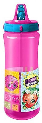 Spearmark Water Bottle For Kids With Shopkins Art and Flip Top Spout Pink 590ml