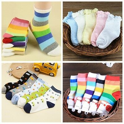5 Pairs Cute Toddlers Kids Boys Girls Soft Cotton Warm Rainbow Candy Color Socks