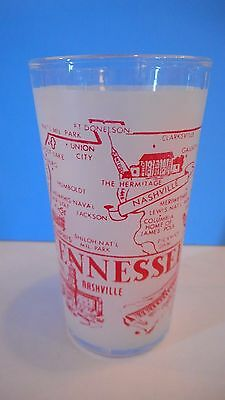 Vintage Frosted Red TENNESSEE State Glass Tumbler Drinking Beverage Souvenir
