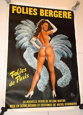FOLIES BERGERE PARIS 40x56 SHOWGIRL POSTER French CABARET THEATER linen PINUP