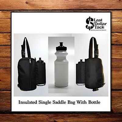 Single Insulated Saddle Bag With Water Bottle ~ Black 600D Showerproof Cordura