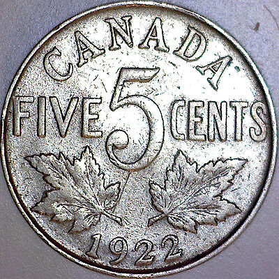 1922 Canada Five 5 Cent Coin