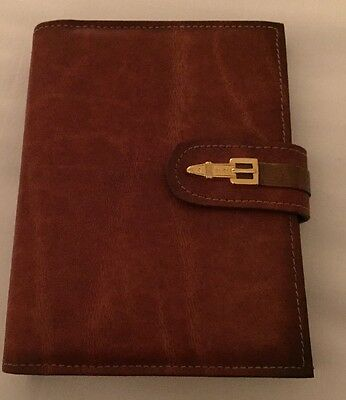 Vintage Cowhide Leather Address Book Brown Winston ADOLFO Never Used